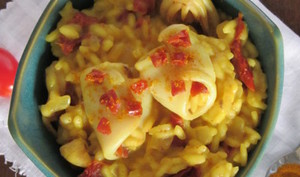 Risotto safrané aux calamars et aux tomates séchées