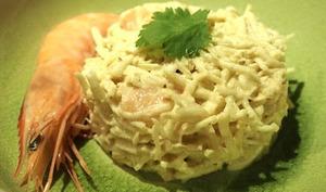 Salade de céleri au curry et crevettes