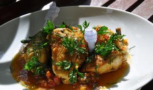 Sauté de poulet au safran, parfumé d'absinthe