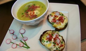 Soupe courgettes, poireaux, pomme de terre et tartines de Silton et radis