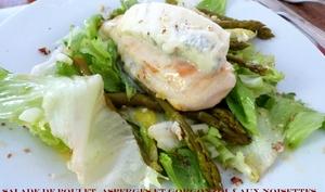 Salade au Poulet, Asperges, Gorgonzola et Noisettes