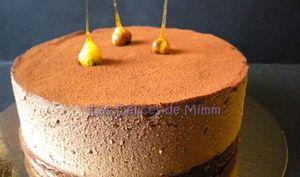 Gâteau mousse aux 2 chocolats, parfum d'Amaretto