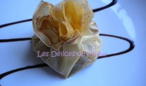 Aumônières de foie gras et pommes caramélisées