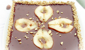 Tarte au Chocolat, Poires, noisettes et Quinoa