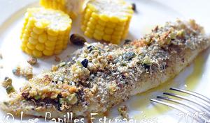 Filet de merlan et maïs, panure aux pistaches, graines de courge et thé matcha