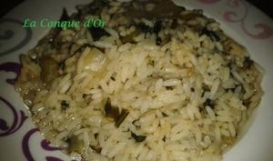 Petite soupe de riz aux blettes et petits lardons