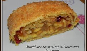 Strudel aux pommes raisins et cranberries