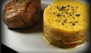 Fenouil carotte crumble de lentilles corail et pavé de rumsteck