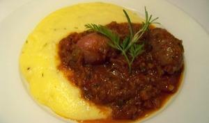 Perugines, sauce tomate et Polenta crémeuse