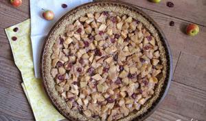 Tarte aux pommes et cranberries, pâte avoine et noix