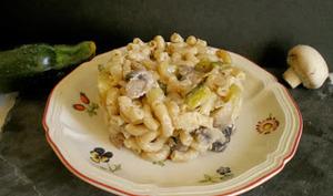 Risotto de coquillettes, champignons et courgettes
