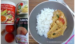 Poulet thaï au curry rouge pousses de bambou et lait de coco
