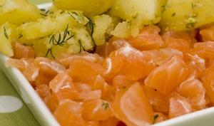 Saumon Gravlax, Pommes de terre froides et Pesto à la pistache