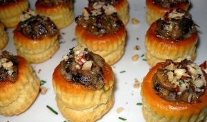 petites bouchées gorgonzola champignons de paris noisettes