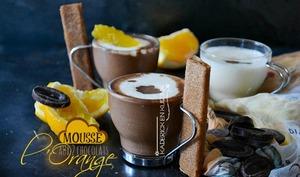 Mousse express aux 2 chocolats, segments d'orange et crêpes dentelles