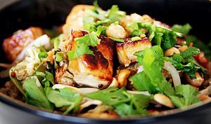 Wok de légumes aux 3 quinoas et tofu poêlé