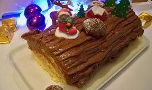 Bûche aux marrons et meringue, crème mascarpone cacao
