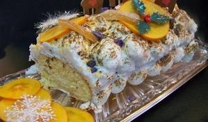 Bûche meringuée, mousse de poire, citron et vanille