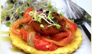 Galettes à la farine de pois chiche ,poivrons et tomates confites
