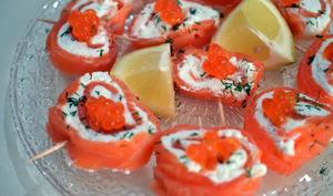 Roulés au saumon fumé et chèvre frais