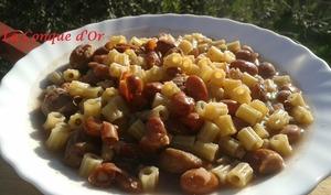 Soupe de ditalini aux haricots Borlotti et châtaignes