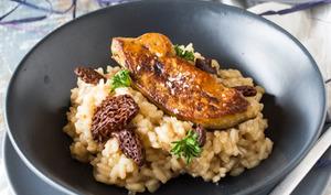 Risotto aux morilles et foie gras poêlé