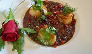 Risotto de riz vénéré, Saint Jacques à la vanille et petite sauce orange sanguine