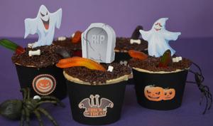 Cupcakes aux vers de terre pour Halloween