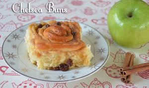 Chelsea buns ou brioche cannelle pomme raisins
