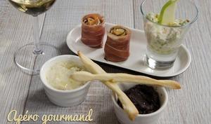 Gressins maison, tapenade, crème d'artichauts, verrine saumon avocat