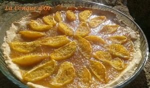 Tarte à l'orange sur confiture de mandarines