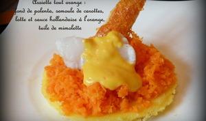 """Dés de lotte, semoule de carottes et sauce hollandaise à l'orange """"sanguine"""" , fond de polent"""