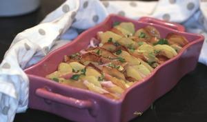 Tian de pommes de terre, bacon, comté et basilic
