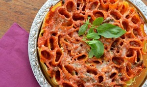 Gâteau de tortiglionis – Ricotta basilic