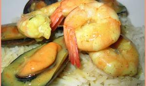 Moules et crevettes au curry