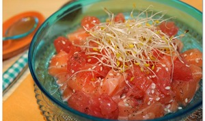 Tartare saumon pamplemousse, citron et graines germées