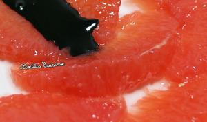 Carpaccio de pamplemousse et clémentines à l'huile d'olive à la spiruline