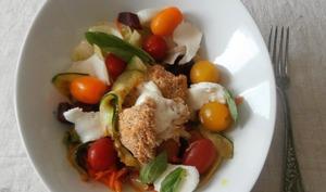 Salade mozza chaude, carottes, betteraves, courgettes