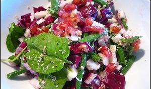 Salade croquante de fenouil et chou rouge et sa sauce au yaourt et son d'avoine