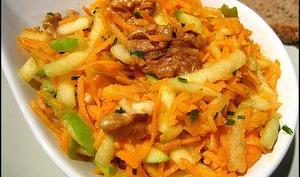 Emincé de carottes aux pommes et noix