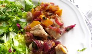 Poulet à la mangue et oignons rouges caramélisés