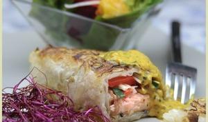 Rouleaux de saumon , sauce à la mangue