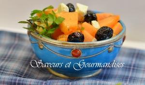 Melon en salade, feta et menthe