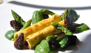 Les cannellonis de boeuf aux asperges vertes et morilles