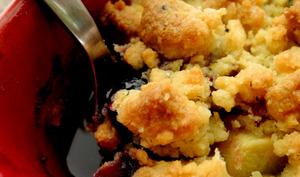 Crumble pommes ~ myrtilles au thé parfumé {sans gluten}