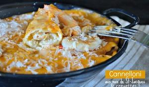 Cannelloni aux saint-jacques, crevettes et parmesan