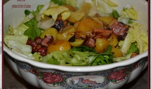 Salade tiède aux pommes de terre et lardons