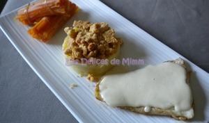 Filet de sandre, émulsion de parmesan et purée en crumble amandes-parmesan