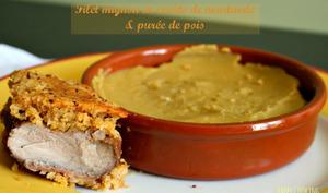 Filet mignon en croûte de moutarde et purée de pois cassés