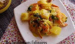 Crevettes ananas et lait de coco